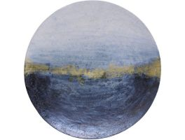 Libra Blue & Gold Abstract Iron Wall Disc Large