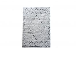 Libra Abar Hand Woven Pit Loom Ivory & Charcoal Pattern Cotton Rug
