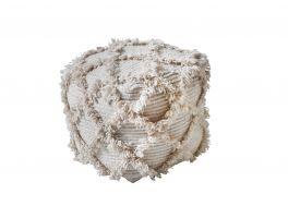 Libra Kepino Hand Woven Pit Loom Natural Wool Pouffe
