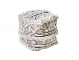 Libra Isaba Hand Woven Pit Loom Natural & lvory Wool Pouffe