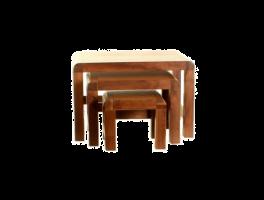 Baumhaus Shiro Walnut Nest of 3 Coffee Tables