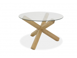 Brienne Light Circular Glass Top Dining Table