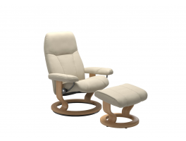 Stressless Consul Classic Recliner Chair with Footstool Quick Ship Batick Cream