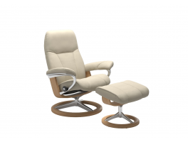 Stressless Consul Signature Recliner Chair with Footstool Quick Ship