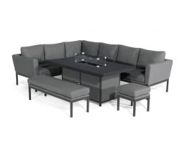 Athena Corner Casual Fire Pit Table Dining Set
