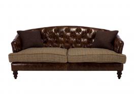 Tetrad Harris Tweed Dalmore Leather Midi Sofa