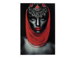 Lady Red Lips Glass Picture
