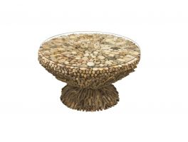 Bluebone Driftwood Round Coffee Table Glass Top