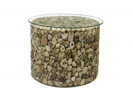 Bluebone Driftwood Drum Lamp Table with Glass Top