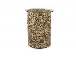Bluebone Driftwood Tall Lamp Table Glass Top