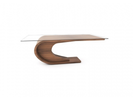 Tom Schneider Crest Glass Top Dining Table