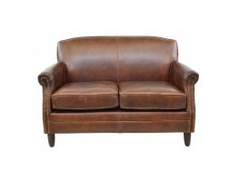 Ancient Mariner Vintage Leather 2 Seater Studded Front Sofa