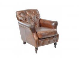 Ancient Mariner Vintage Button Back Leather Chair