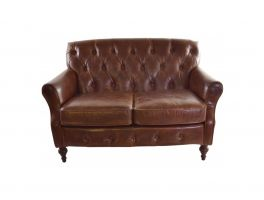 Ancient Mariner Vintage Leather 2 Seater Button Back Sofa