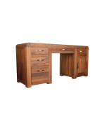 Baumhaus Shiro Walnut Twin Pedestal Computer Desk